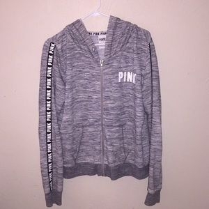 "GREY ""PINK"" ZIP-UP HOODIE"